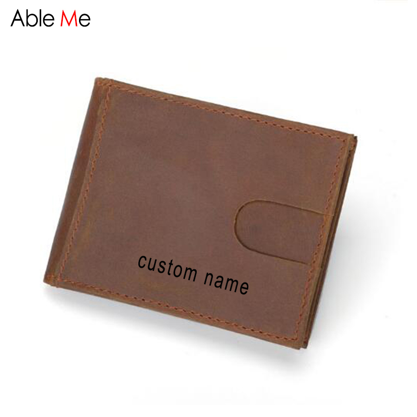 Custom Name Purse Men Gifts New Crazy horse skin Cow leather wallets Money Clip with Metal Clamp short wallet Male maibomengnuo authentic crocodile skin wallet belly belly fashionable contracted men thin money clip upright money