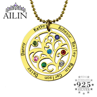 Wholesale Birthstone Family Tree Necklace Gold Color Personalized Mother Necklace Engraved Our Family Name Mother Jewelry