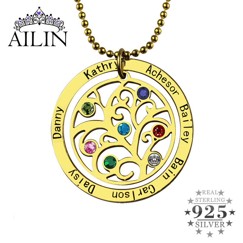 Wholesale Birthstone Family Tree Necklace Gold Color Personalized Mother Necklace Engraved Our Family Name Mother Jewelry фоторамка alparaisa family с31 004 dark gold