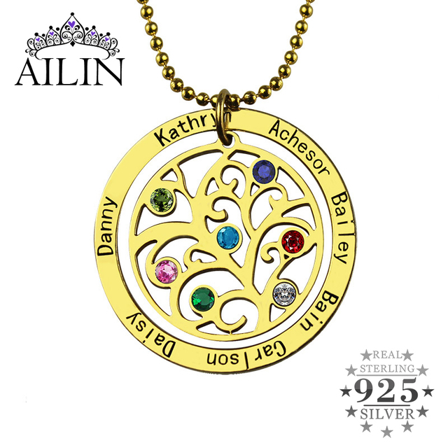 Wholesale Birthstone Family Tree Necklace Gold Color Personalized