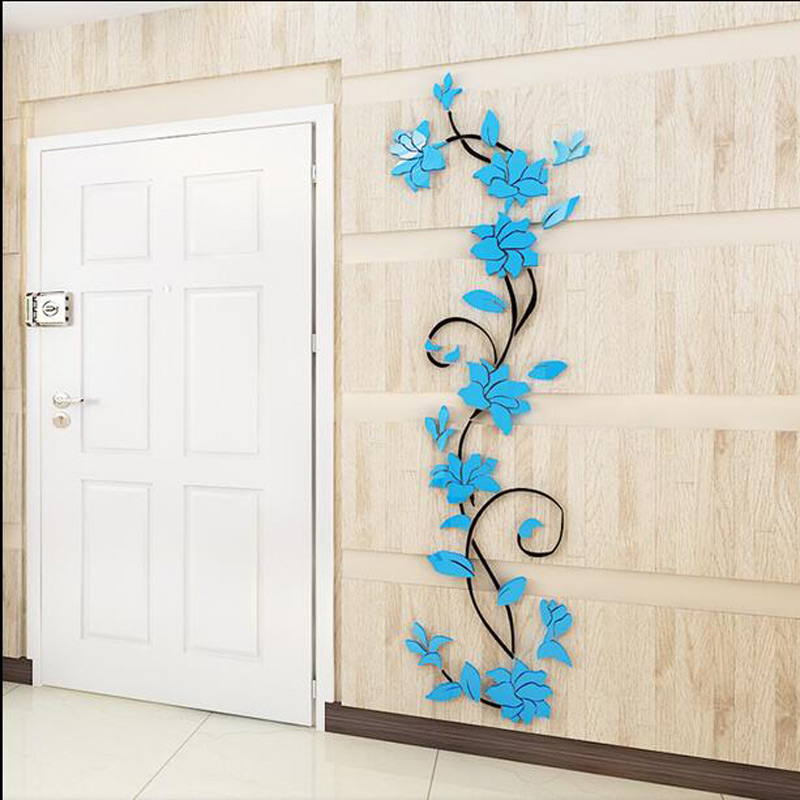 Fashion PVC Flower Mirror Home Art DIY Wall Sticker Living Room ...