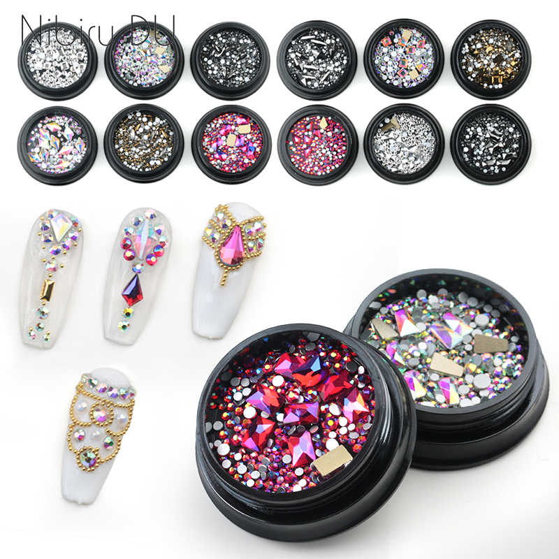 1 Box Mix Diverse DIY Crystals Stones Nail Design Glass Rhinestones For Charms 3D Nail Art Decorations New Arrive Accessories