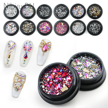 1 Box Mix Diverse DIY Crystals Stones Nail Design Glass Rhinestones For Charms 3D Art Decorations New Arrive Accessories