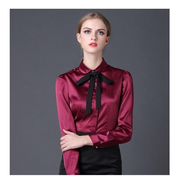 6bcc3d7530633e 2017 Satin Shirt Women Long sleeve peter pan collar silk Blouses women work  wear uniform office OL shirt simple body tops