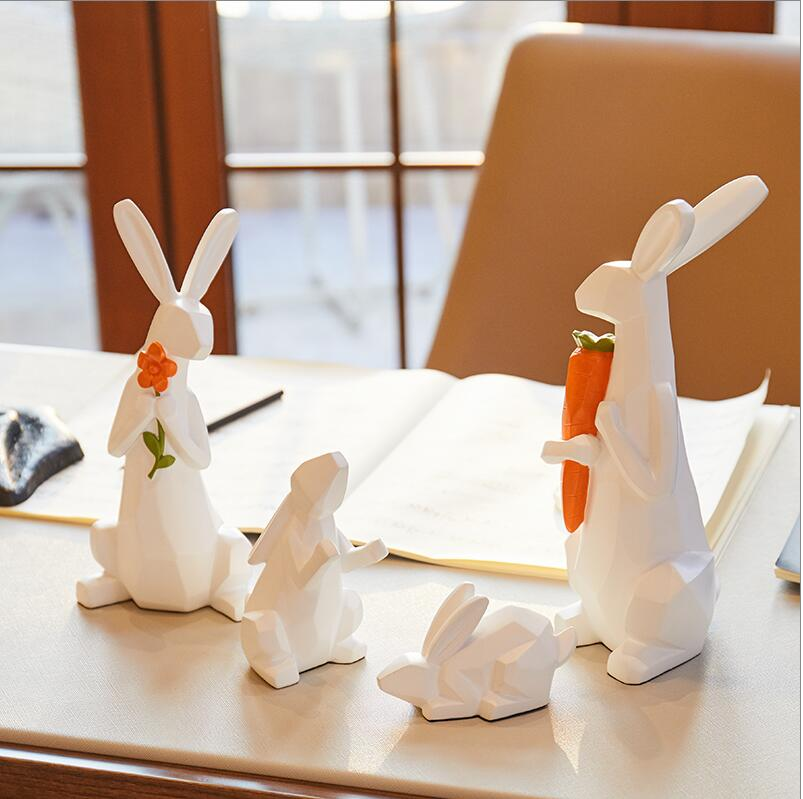 Cute family of 4 Modern minimalist animal ornaments Cute children room soft decorations Living room home TV cabinet display - 3