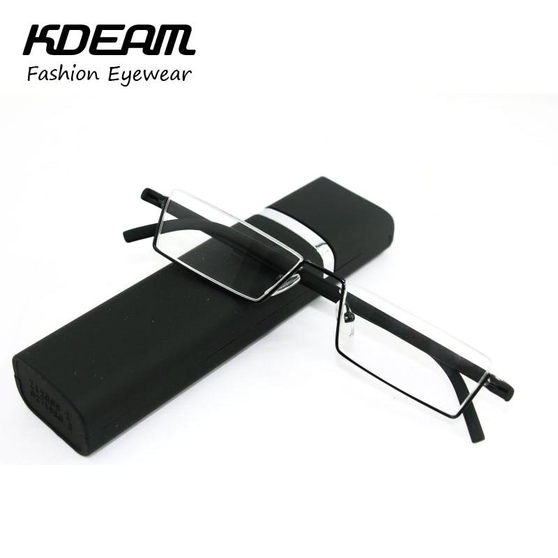 TR-90 Fémes fémkeret vékony hordozható fekete / piros kompakt olvasószemüveg szemhéjfáradtság doboz erejével +1.0 - +4.0 Kdeam