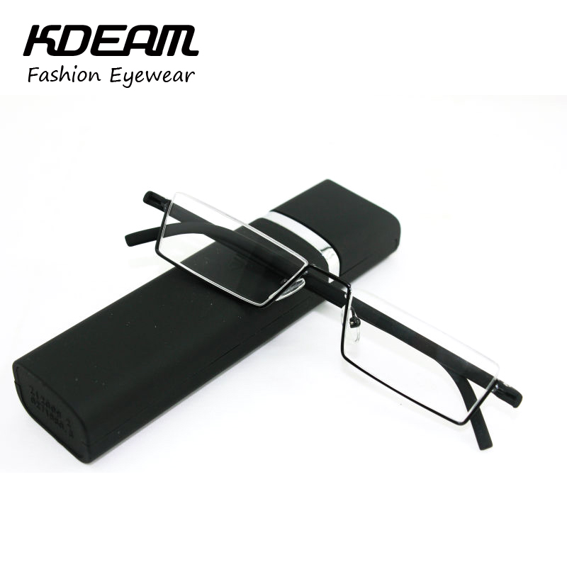 TR-90 Half Metal Frame Slim Portable Black/Red Compact Reading Glasses Anti Eye Fatigue With Box Strength +1.0 - +4.0 Kdeam