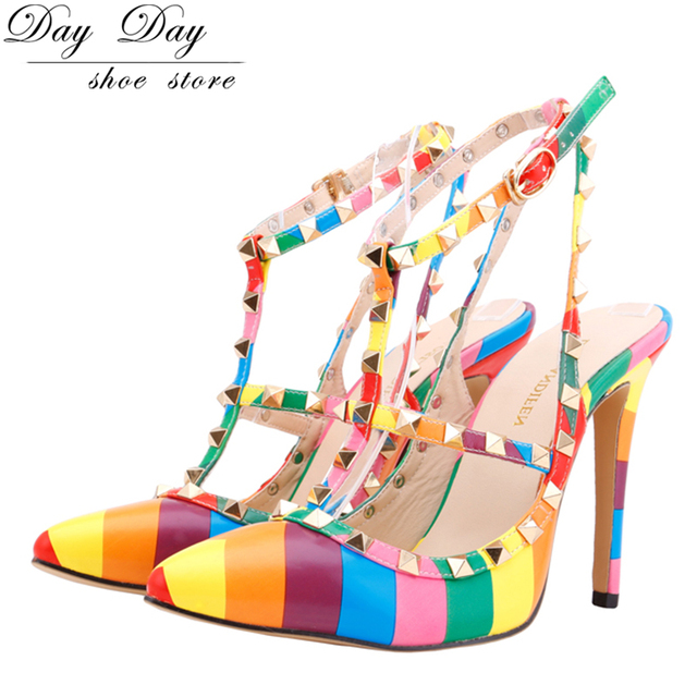 High heel Sandals Women Pumps Pointed Toe shoe Ladies Women Shoes Rivets  Pumps rainbow party heels Mixed colors Ankle Strap 6dd30bfc2248