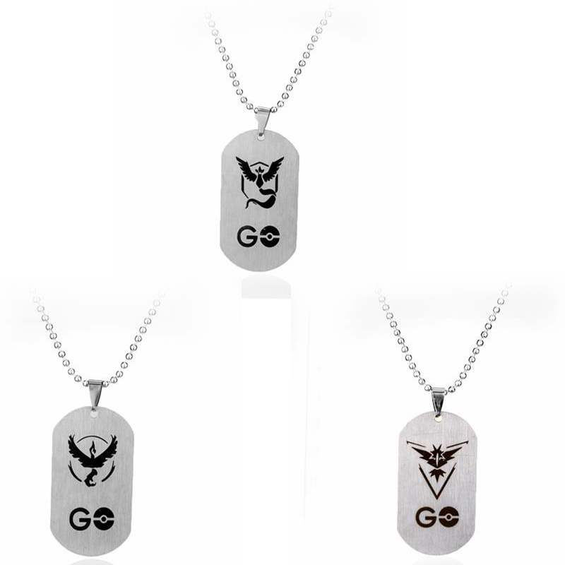 Anime Pokemon Go Team Mystic Team Valor Logo Choker Necklace Pendants Stainless Steel Game Accessories Jewelry Gifts