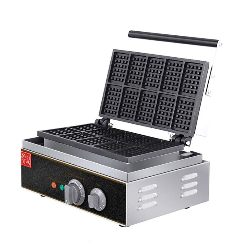 Stainless Steel Waffle Machine Commercial Waffle Maker Muffin Machine 10 grid Crispy Pancake Machine FY-10 1550w