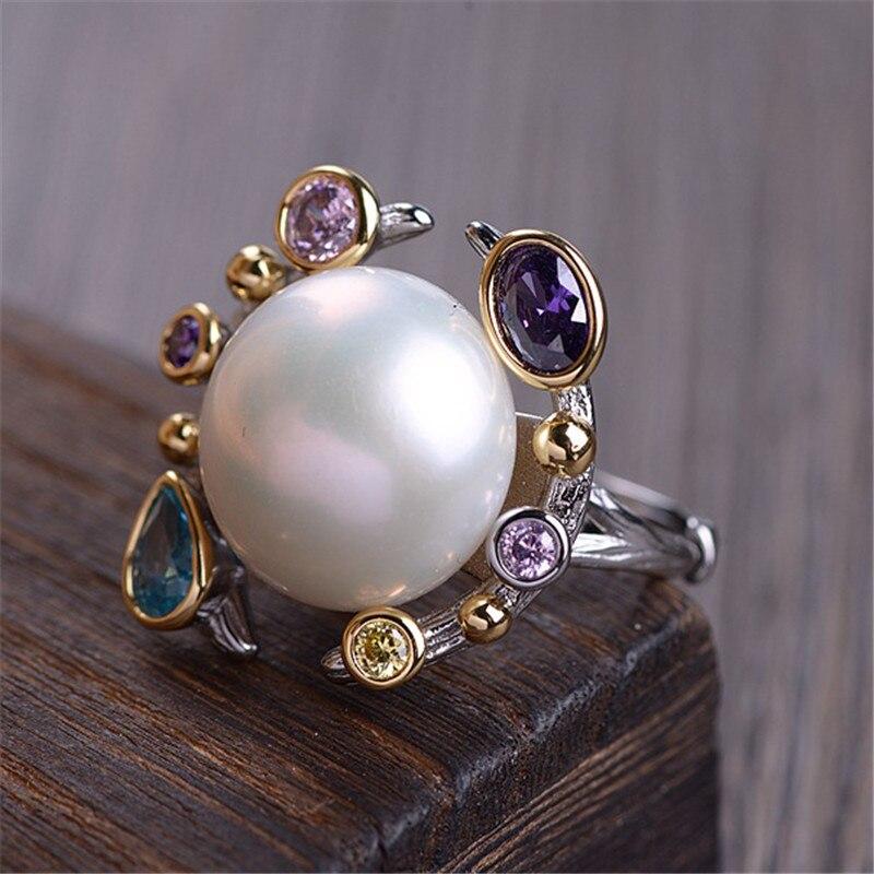 V. YA perla de agua dulce Natural y anillos de circón anillo de Plata de Ley 925 para mujeres señoras Vintage joyería-in Anillos from Joyería y accesorios    2