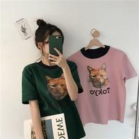 Harajuku Ulzzang Cat COOL T Shirt Female Summer Short Sleeve Cotton T Shirt Women Tops Graphic