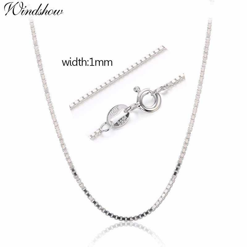 "1mm 14""-32"" Real Solid Pure 925 Sterling Silver Box Chain Necklace Women Men Baby Kids Girls Children Jewelry kolye collares"