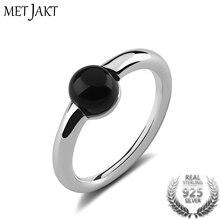 Кольцо MetJakt с натуральным драгоценным камнем и агатом, однотонное 925 пробы Серебряное для женщин, модные ювелирные изделия, винтажные обручальные кольца