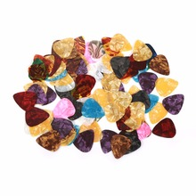 Lots of 100pcs New Thin Guitar Picks Parts Acoustic Celluloid Plectrum Multicolor 0.46mm Stringed Instruments Accessories