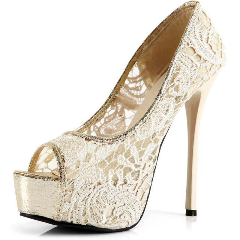 Sweetness Lace 14cm High Heel Shoes Wedding Bridal Shoes Peep Toe Net Pumps  Gown prom Shoes Summer Sandal Free Shipping-in Women s Pumps from Shoes on  ... dd70d7e01a62