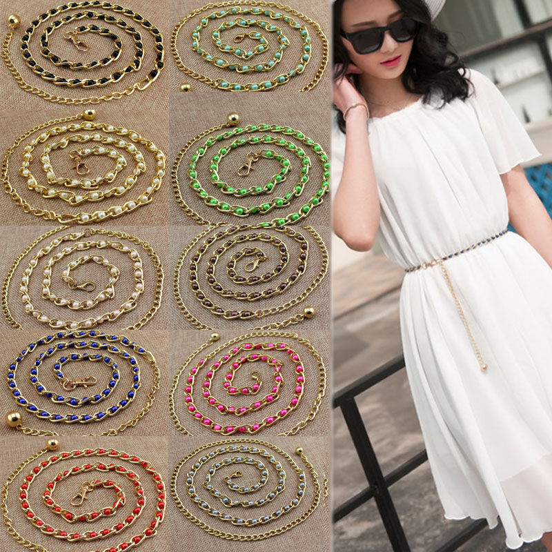 Women Fashion Bead Strap Pearl   Belt   Waist Accessories New Buckles Summer Waistband