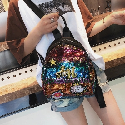 TINTON 2018 Delicate personalized design Fashion Korean women backpack shining sequins patchwork cartoon animal back pack