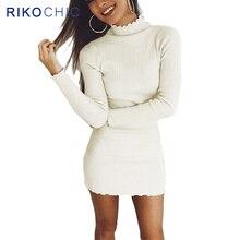 Rikochic 2018 Весна Для женщин свитер с высоким воротом платье Sexy Тонкий Bodycon Платья для женщин эластичные узкие оборки полосатый вязаное платье D025