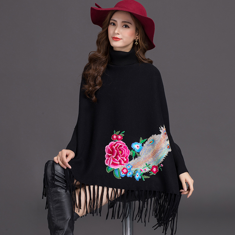 Automne Ayunsue Pull La Roulé 2018 pink khaki Nouveau Rose Chandail Cape Col Hiver gry black Pulls water Red Vintage Femmes Blue Kinitted Broderie Gland Plus Taille red wwfExqc6ra