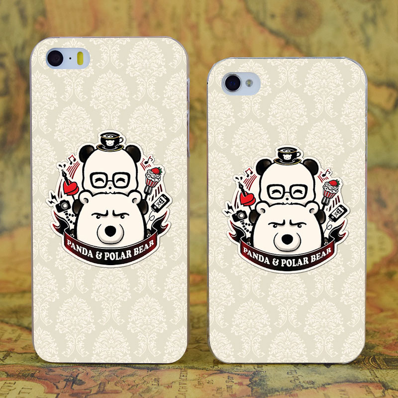 E0676 Panda And Polar Bear Transparent Hard Thin Case Cover For Apple iPhone X XR XS Max 4 4S 5 5S SE 5C 6 6S 7 8 Plus