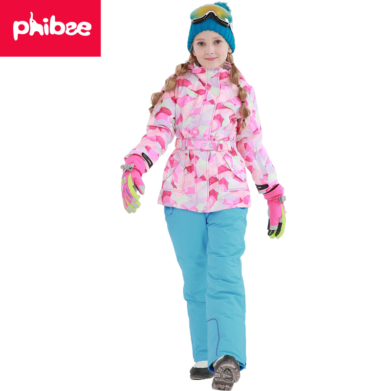 Phibee Girls ski jacket Winter Outdoor Children Clothing Set Windproof Ski Jackets + Pants Kids Warm Skiing Suit For Girls phibee free shipping winter outdoor children set windproof ski jackets pants kids snow sets warm waterproof skiing suit for boys
