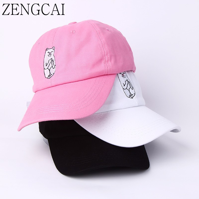 ZENGCAI Baseball Caps Summer Sun Hat For Men Women Casual Snapback Caps Dad Hats Lovely Cat Unisex Hip Hop Hat Bone Gorras yoursfs 18k rose white gold plated letter best mum heart necklace chain best mother s day gift