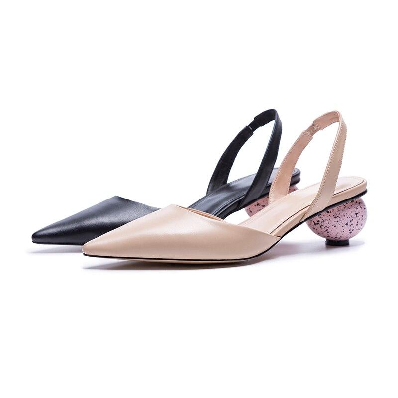 Étranges Wetkiss Sandales Bout Cuir Beige Femmes Vache Oeuf De Chaussures Partie Mode Pointu D'été noir Haute Talons En px1I1fHq