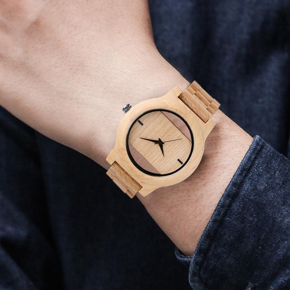 YISUYA Mens Women Natural Wood Watches Full Wooden Bamboo Wristwatch Fashion Hollow Dial Design Quartz Novel Handmade Clock Gift 2017 (22)