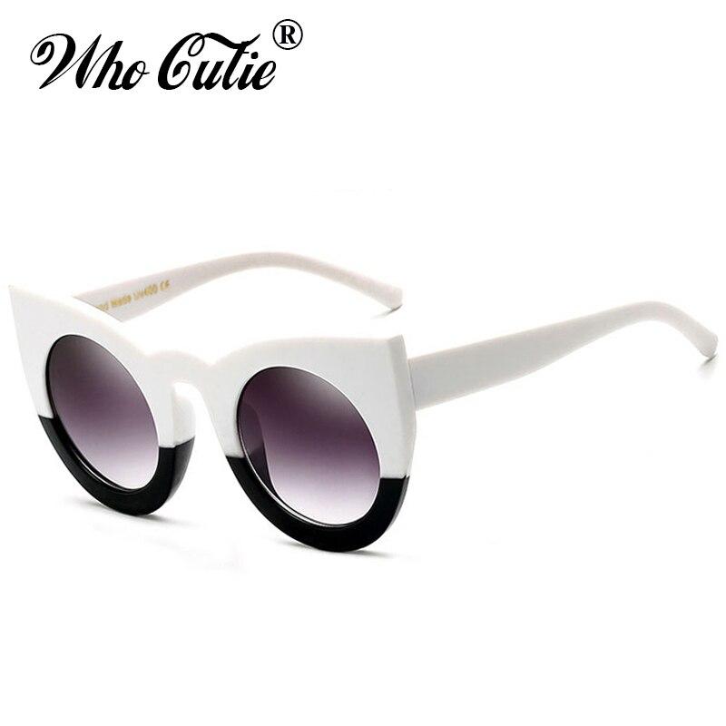 WHO CUTIE 2018 Round Cat Eye Sunglasses Versae Women Brand Designer 90S Vintage White Black Female Cateye Sun Glasses Shades 360