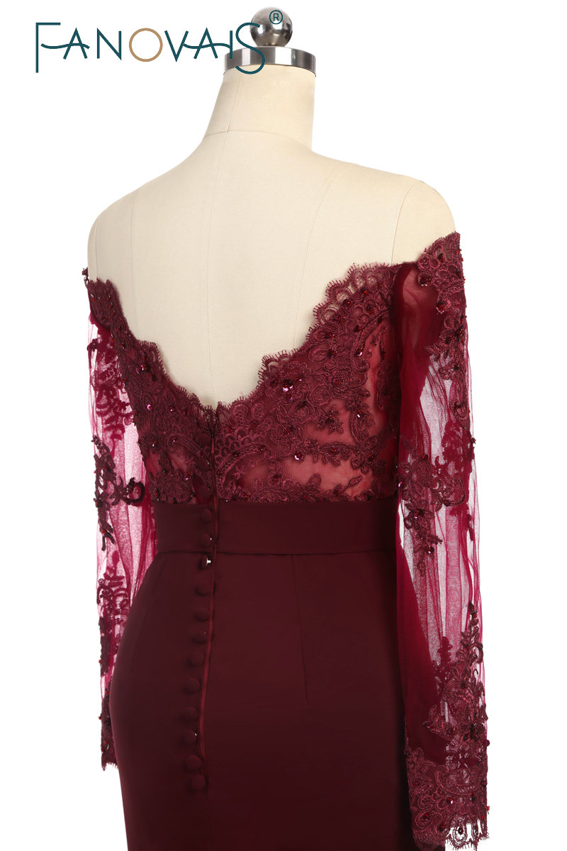 Wedding Party Dress Burgundy Bridesmaid Dress vestidos largos Satin Long  Lace Beaded Mermaid Bridesmaid Dress With Long Sleeves ea0de6a3f1d1