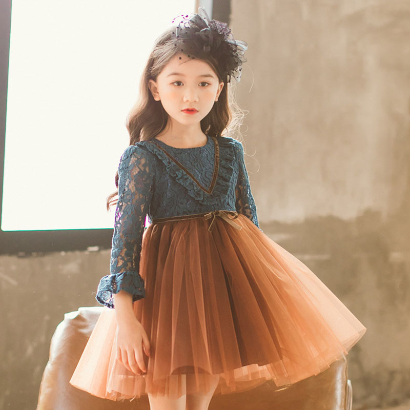 New 3 10 Years Lace Flare Sleeve Lace Patchwork Dress Belt Bow For Girls Party Summer Tutu Dresses Princess Prom Kids Vestido