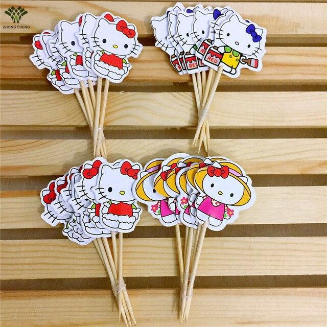 24pcspack Hello Kitty Cupcake Topper Kitty Cake Topper Picks Flag