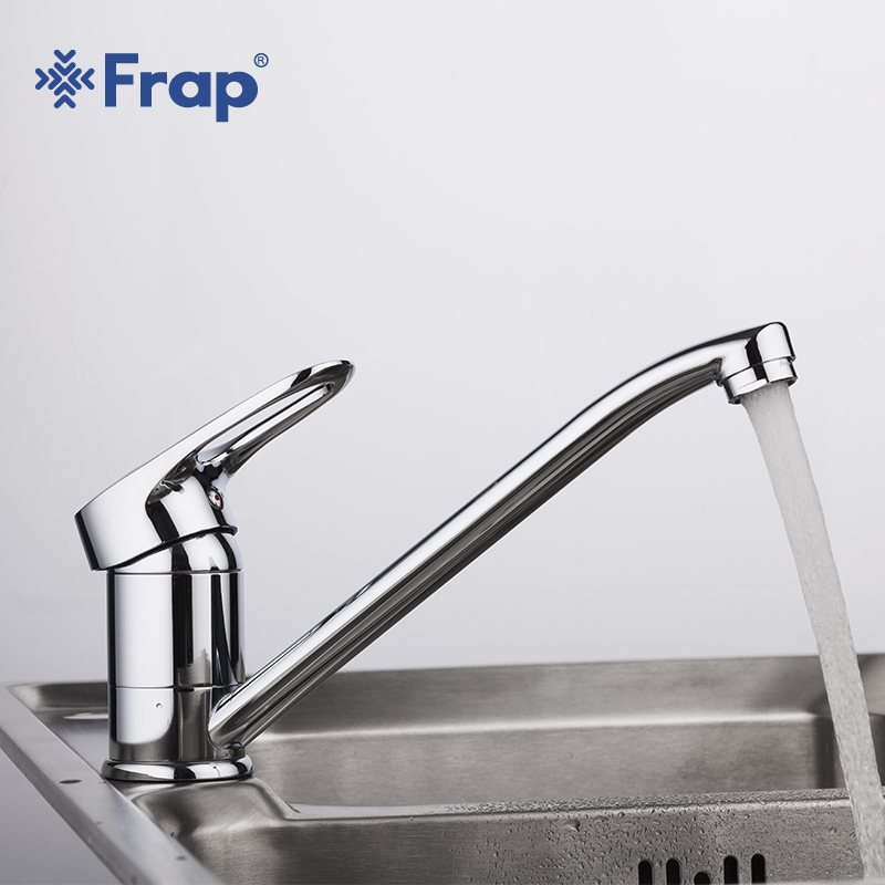 Frap Deck Mounted Kitchen Faucet Chrome Finish Single Lever Cold & Hot Water Tap Kitchen Sink Mixer Tap 360 Degree Mixer Kitchen chrome kitchen sink faucet 360 degree rotating spout faucet hot and cold water mixer tap deck mounted