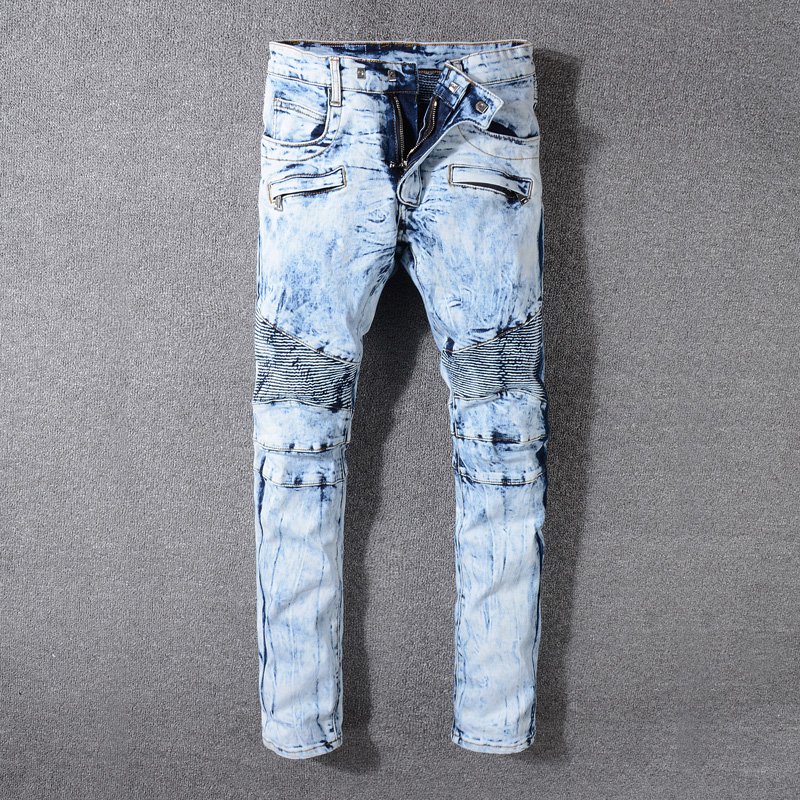 2018 New Fashion French Style Biker Jeans Homme Light Blue Color Snow Wash Spliced Skinny Fit Elastic Punk Jeans Men Size 29-42
