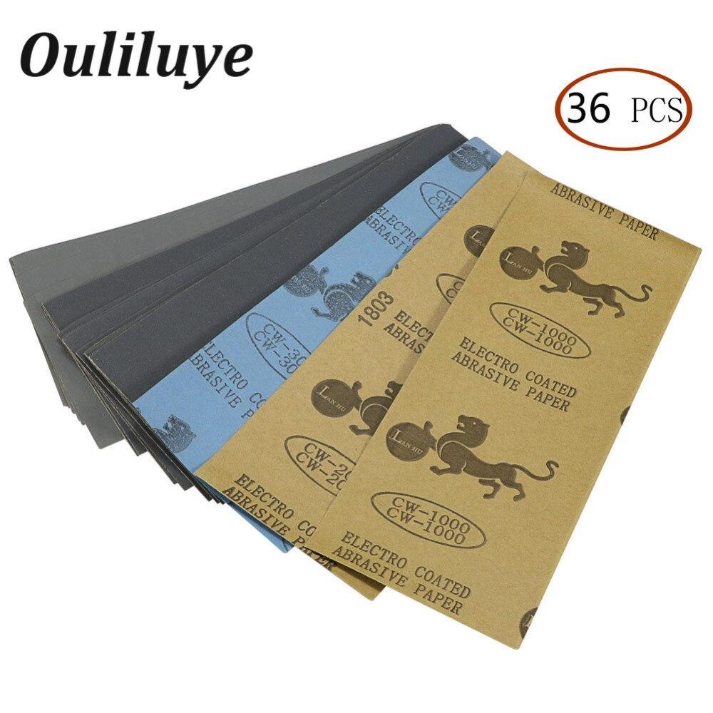 36PCS  400 To 3000 Wet Dry Sand Paper Polishing Metal Sanding Waterproof Sandpaper Grind Paper Wood Emery Abrasive Paper Sheets