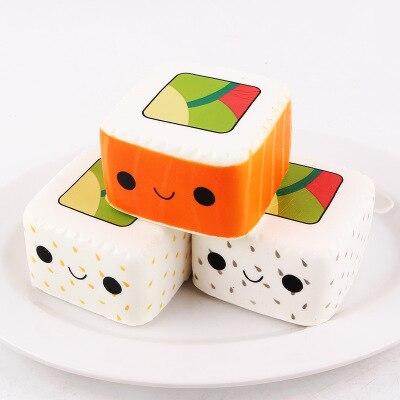 Cute Yummy Sushi Squishy Slow Rising Phone Strap 6CM Cartoon Face Pendant Stretchy Bread Cake Kids Fun Toy Birthday Gift