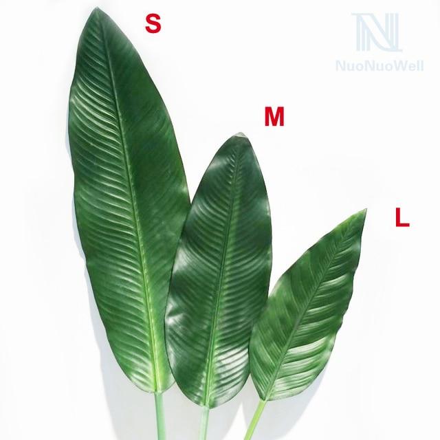 5 sprays green silk banana leaves artificial plant leaf for Artificial banana leaves decoration