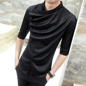 Image 2 - 2018 夏ゴシックシャツフリルデザイナー襟のシャツ、黒と白の韓国男性ファッション衣類ウェディングパーティークラブもシャツ