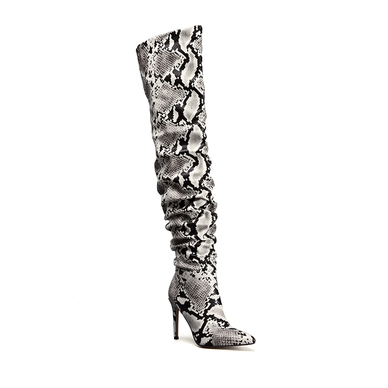 Perixir Strechy Thigh High Boot  Snake Skin Over the Knee Boots Sexy Super High Thin Heel Pointed Toe For Winter Ladies BootsPerixir Strechy Thigh High Boot  Snake Skin Over the Knee Boots Sexy Super High Thin Heel Pointed Toe For Winter Ladies Boots