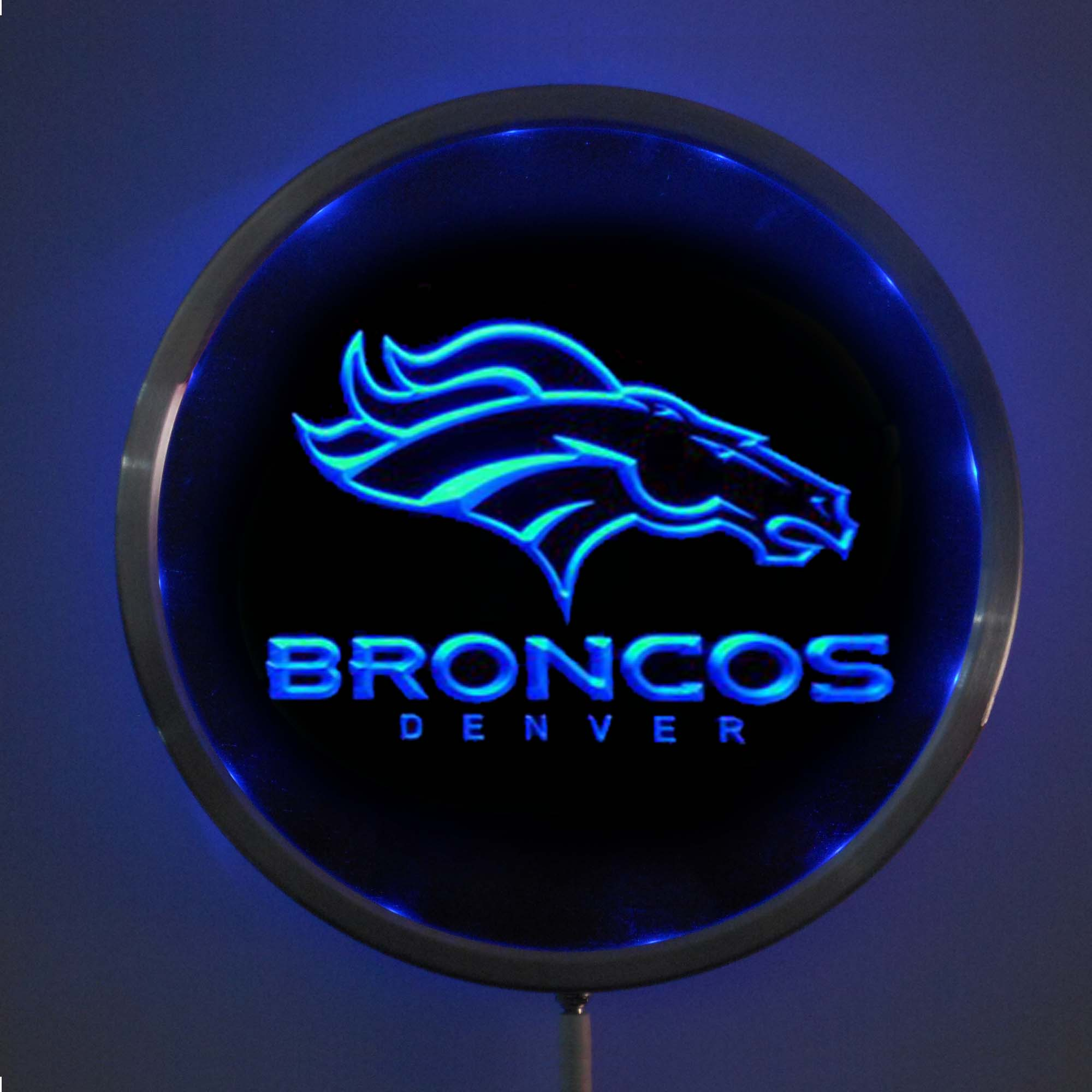 rs-b0067 Denver Broncos LED Neon Round Signs 25cm/ 10 Inch - Bar Sign with RGB Multi-Color Remote Wireless Control Function
