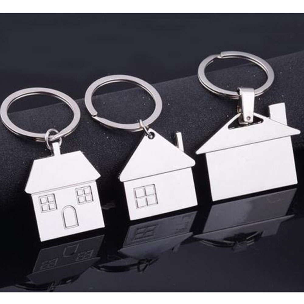 Chrome Silver Metal House Shape Keyring Shiny Key Ring Chain Brand New Fashion trendy solid color metal shovel shape keyring