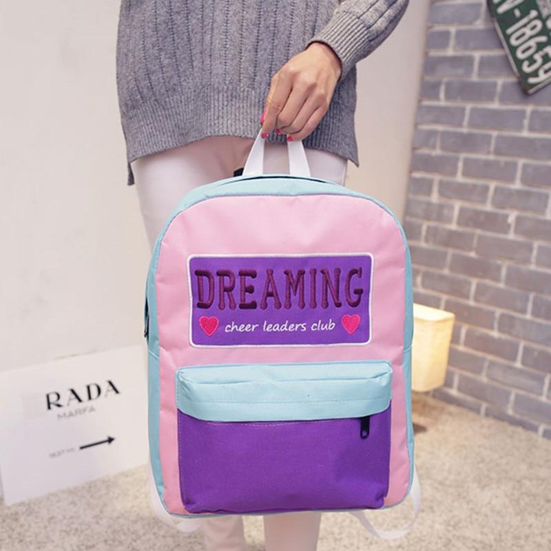 2017 새로운 패션 여성 배낭 자수 한국 배낭 옥스포드 학교 여행 배낭 가방 처칠 도스