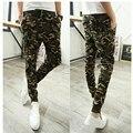 2016 nova Coreano homens Magros dos homens calça casual calças Wei calças de camuflagem pés harem pants tendência
