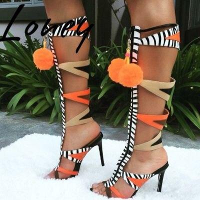 Pom À As Bottes Haute Sandale Loney Gladiateur Sandales Sexy Mélangée Femmes Chaussures Pic Ouvert Bout Printemps D'été Nouveau Genou Couleur SSwUx8vOq