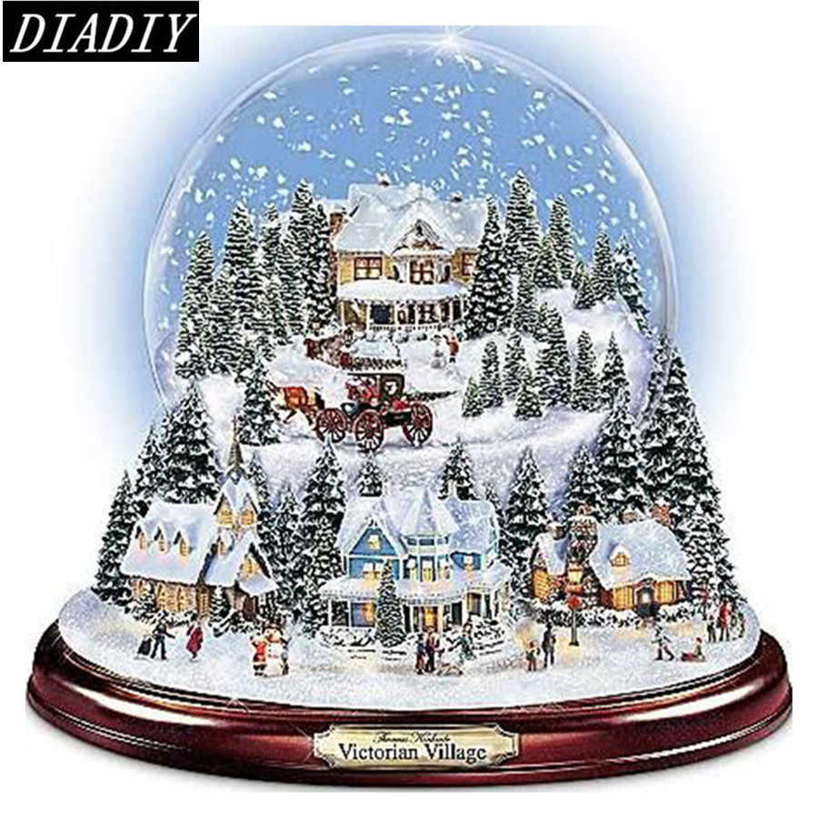 5D Diy diamond painting kit Snow House Crystal Ball 3D cross stitch Full Round Diamond embroidery Diamond Mosaic Home Wall Decor
