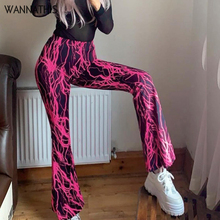 WannaThis Women 2 piece Set Pants and Top Flame Print Wide Slim Leg Elastic Waist Flare Hem Pants And Strapless Top Fashion Club цены