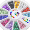 24 Packs Hot Multicolor Oval 3D Glitters Studs DIY Decoration Nail Art Tips Stickers Wheel 7COR
