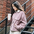 MI007 New Arrival Autumn 2016 casual long sleeve short coat pink loose vintage corduroy jacket women