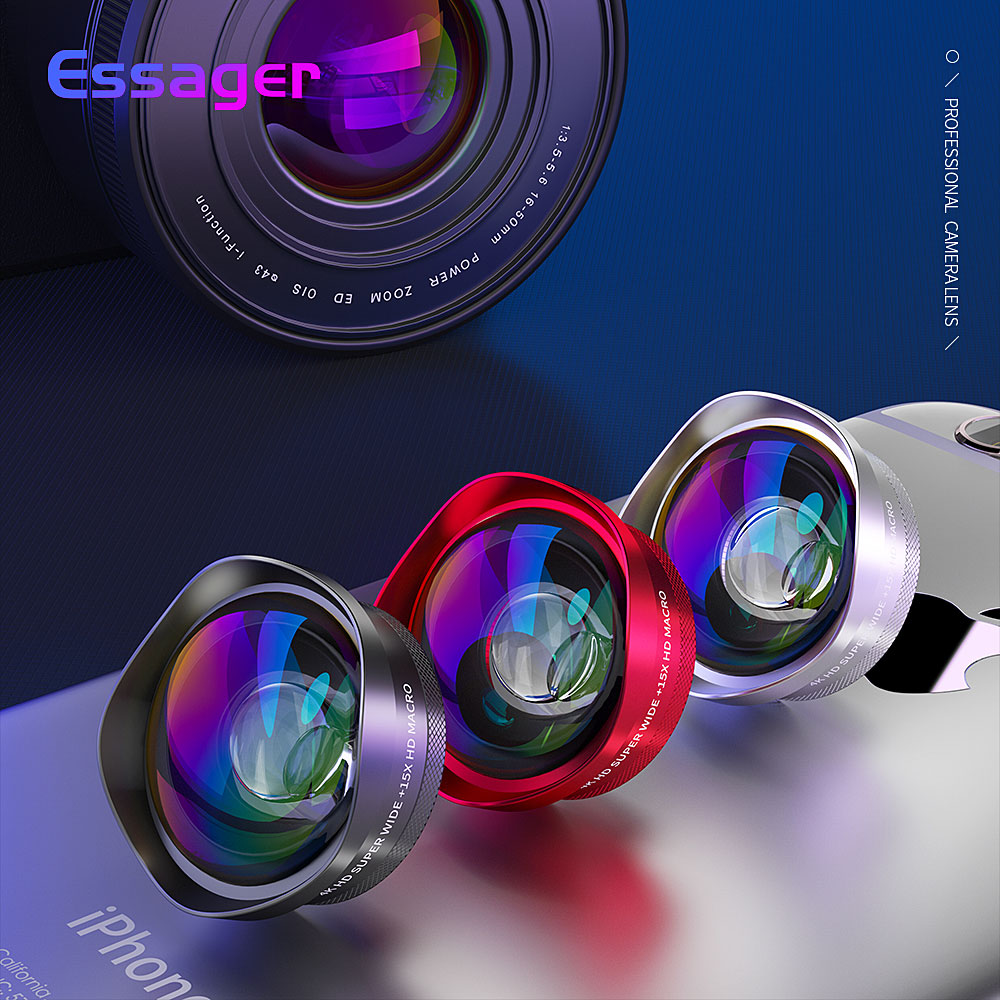 Essager 4K Wide Angle Macro Lens for iPhone Huawei 0.6X+15X Phone Camer